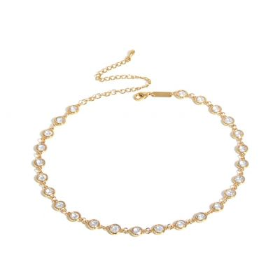Beautiful Round CZ 925 Sterling Silver Choker Necklace