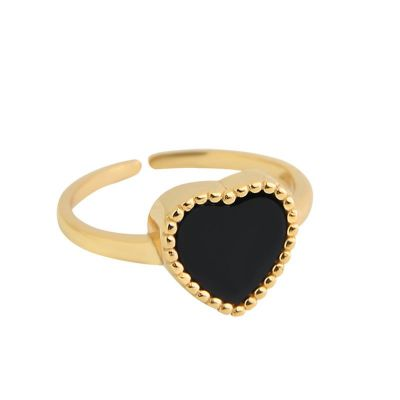 Fashion Black Heart 925 Sterling Silver Adjustable Ring
