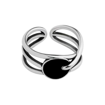 Simple Multi Layer Balck Round 925 Sterling Silver Adjustable Ring