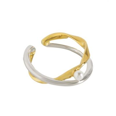 Fashion Two Tone Cross Shell Pearl 925 Sterling Silver Adjustable Ring