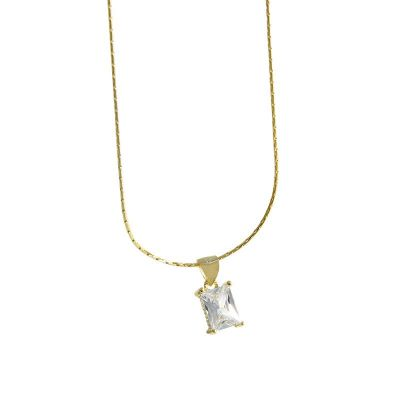 Geometry Simple CZ Sugar 925 Sterling Silver Necklace