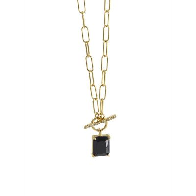 Geometry Black CZ Square OT 925 Sterling Silver Necklace