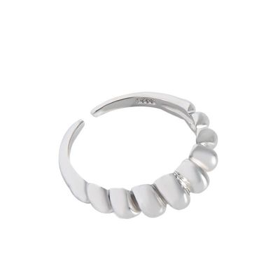 Simple Twisted Croissants 925 Sterling Silver Adjustable Ring