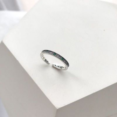 Vintage Green CZ 925 Sterling Silver Adjustable Ring