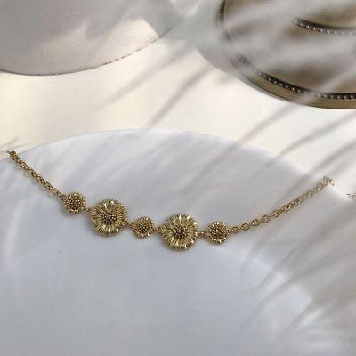 Girl Golden Daisy Flower 925 Sterling Silver Bracelet
