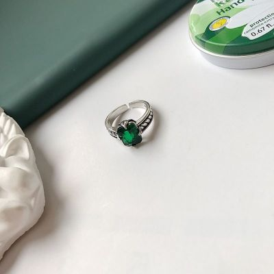 Green Emerald CZ Vintage Twisted 925 Sterling Silver Adjustable Ring