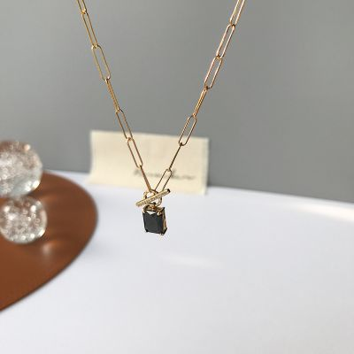 Geometry Black CZ Rectangle 925 Sterling Silver Necklace