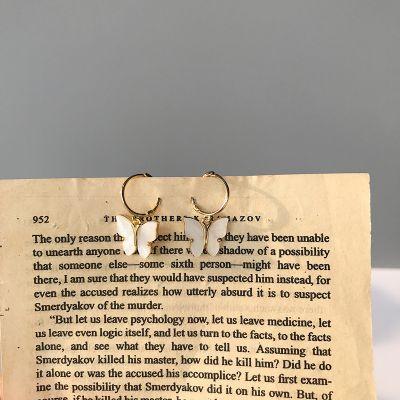 Girl White Shell Butterflies 925 Sterling Silver Dangling Earrings