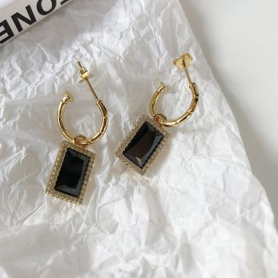 Party Black Rectangle CZ 925 Sterling Silver Dangling Earrings