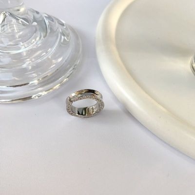 Modern CZ Irregular 925 Sterling Silver Adjustable Ring
