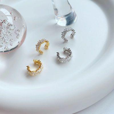 Casual CZ Sugar Cube 925 Sterling Silver Non-Pierced Earrings