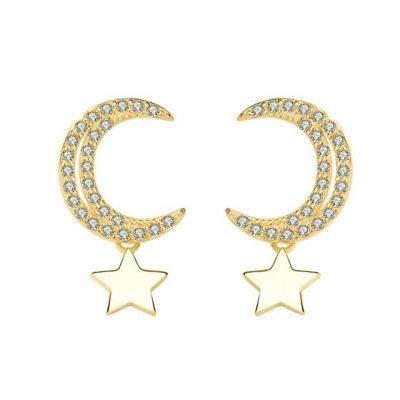 CZ Crescent Moon Stars Sweet 925 Sterling Silver Stud Earrings