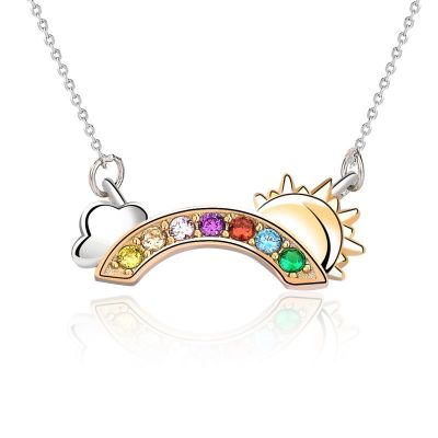 Colorful CZ Rainbow Cloud Sun Girl 925 Sterling Silver Necklace