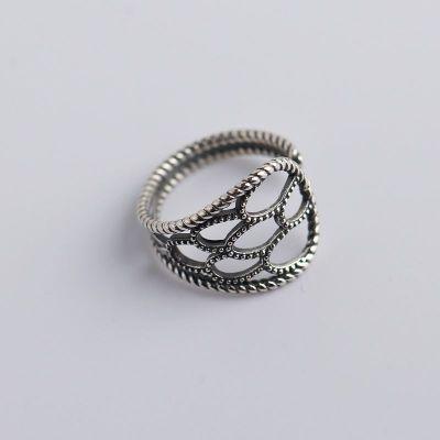 Vintage Hollow U Shape 925 Sterling Silver Adjustable Ring