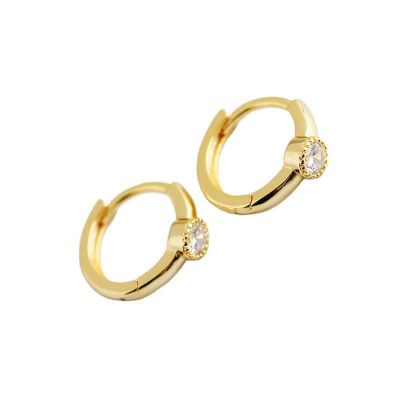 Simple Circle CZ 925 Sterling Silver Hoop Earrings