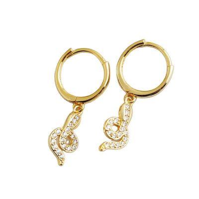 Fashion CZ Snake Shape 925 Sterling Silver Hoop Earrings