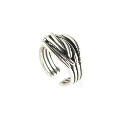 Vintage Weave Multi Layer 925 Sterling Silver Adjustable Ring