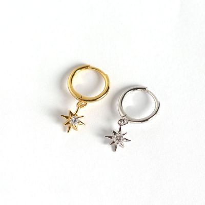 Sweet CZ Stars 925 Sterling Silver Leverback Earrings