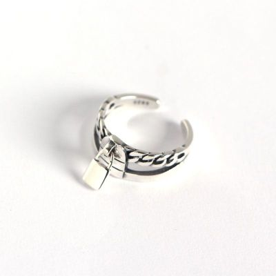 Vintage Chain Lock 925 Sterling Silver Adjustable Ring