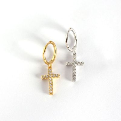 Fashion CZ Cross Holy 925 Sterling Silver Leverback Earrings
