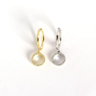 Simple CZ Circles 925 Sterling Silver Leverback Earrings