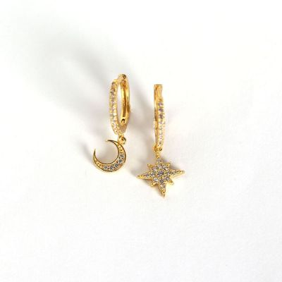 Asymmetry CZ Star Crescent Moon 925 Sterling Silver Leverback Earrings