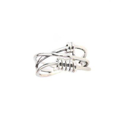 Retro Mini Circles Three Layers Cross 925 Sterling Silver Adjustable Ring