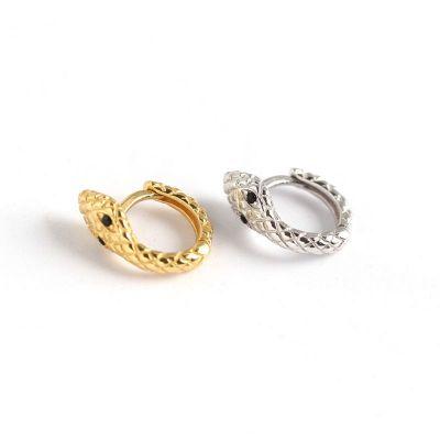 Lady CZ Snake 925 Sterling Silver Hoop Earrings