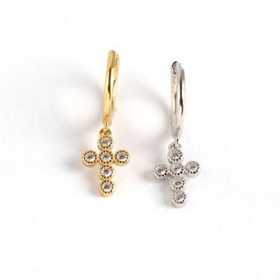 Geometry CZ Cross Tassel 925 Sterling Silver Hoop Earrings