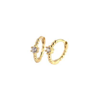 Cute CZ Beads 925 Sterling Silver Hoop Earrings