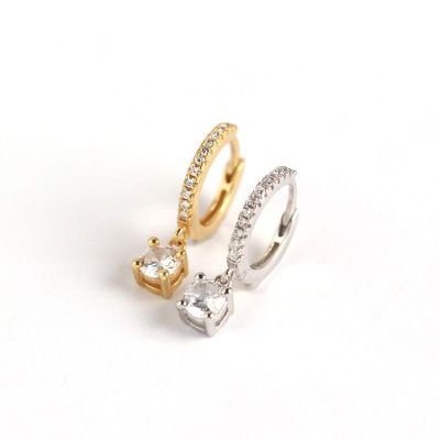 Fashion Round CZ Simple 925 Sterling Silver Hoop Earrings