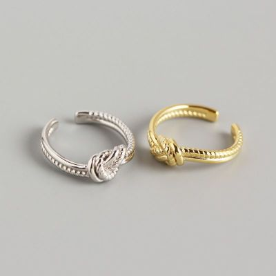 Fashion Twisted Knot 925 Sterling Silver Adjustable Ring