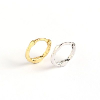 Simple Irregular Twisted Circle 925 Sterling Silver Hoop Earrings