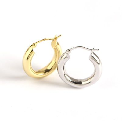 Simple Round Circle 925 Sterling Silver Hoop Earrings