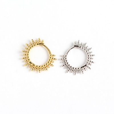 Fashion Beads Sun Circle 925 Sterling Silver Hoop Earrings