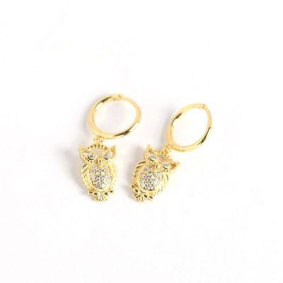 Animal CZ Owl 925 Sterling Silver Hoop Earrings