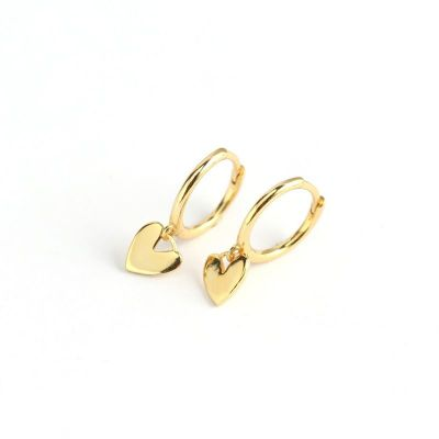 Cute Heart 925 Sterling Silver Hoop Earrings