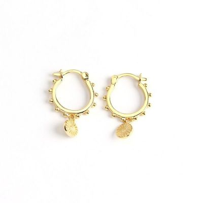 Fashion Beads Round Tag 925 Sterling Silver Hoop Earrings