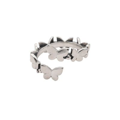 Vintage Mini Flying Butterflies 925 Sterling Silver Adjustable Ring