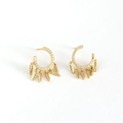 Fashion CZ Tassels 925 Sterling Silver Hoop Earrings