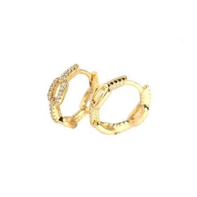 Fashion Chain CZ 925 Sterling Silver Hoop Earrings