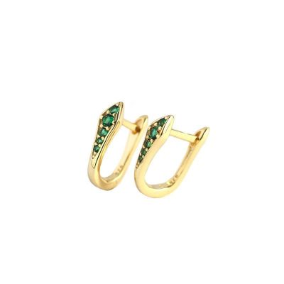 Fashion U Shape CZ 925 Sterling Silver Hoop Earrings