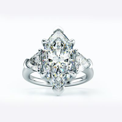 Modern Marquise Created Diamond CZ 925 Sterling Silver Ring