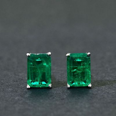 Green Created Emerald Geometric Rectangle 925 Sterling Silver Stud Earrings