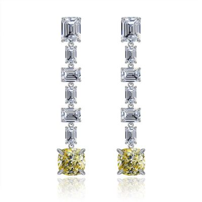 Elegant Square CZ 925 Sterling Silver Dangling Earrings