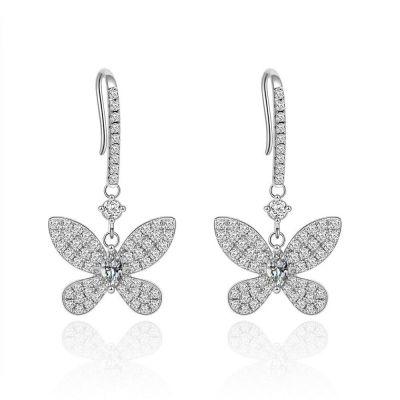 Beautiful Flying CZ Butterfly 925 Sterling Silver Dangling Earrings