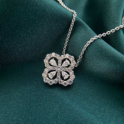 Lucky CZ Four Leaf Clover 925 Sterling Silver Necklace