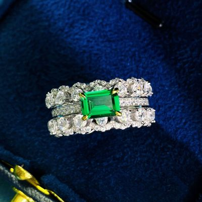 Gorgeous Green Rectangle Created Emerald CZ 925 Sterling Silver Ring