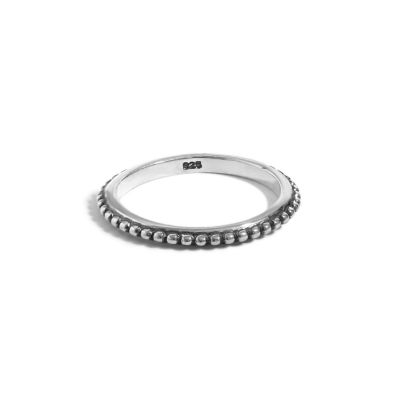 Vintage Beads Simple 925 Sterling Silver Ring