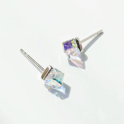 Simple Cube CZ 925 Sterling Silver Earrings